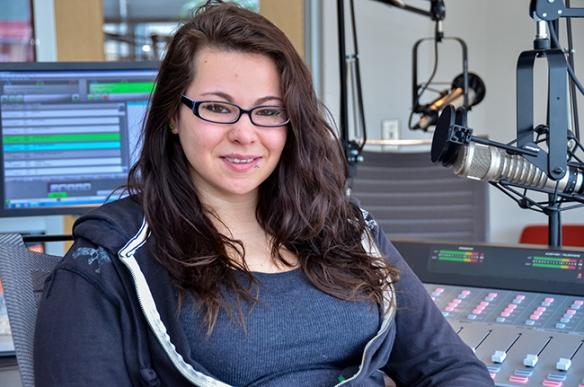 Chelsea Epstein in the College's Montco Radio studio. Photo by Matt Carlin