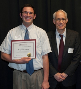 Director of Disability Services Saul Finkle presents Ben Litman with the Stephen Lehr Memorial Award. Photo by John Welsh