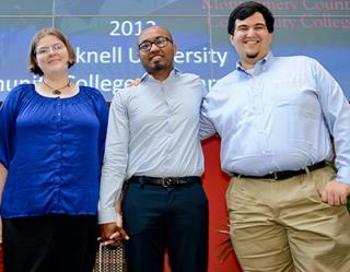 Michael Guarini (right) with fellow grads and Bucknell transfers Abigail Galloway and Abu Chowdhury. Photo by Sandi Yanisko