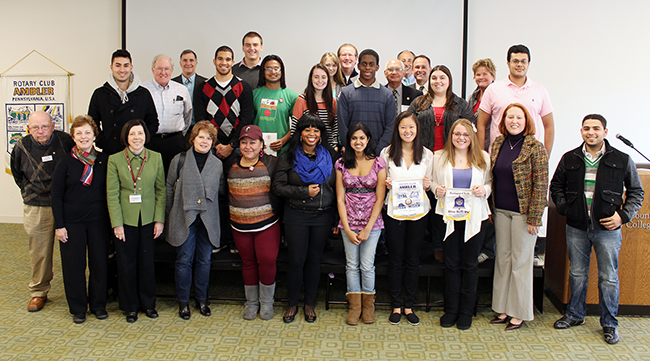 Students from Montgomery County Community College's new Rotaract chapter stand with representatives from Ambler and Blue Bell Rotary clubs during the officer installation and member induction ceremony on Nov. 13 in Blue Bell. Photo by Alana J. Mauger