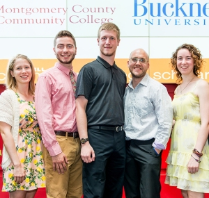 Bucknell transfer graduates (from left) Mallory Murphy, Brian Hipwell, Ken Stephon, David Reedel, and Lydia Crush. Photo by Sandi Yanisko