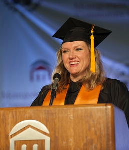 Commencement student speaker & 2014 grad Michelle Sikora. Photo by John Welsh