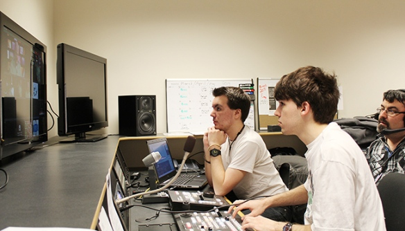 MCCC students operate the control room board during SMPTE's seminar on April 2. Photo by Alana J. Mauger
