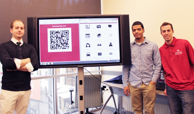 CIS 111b students Dan Marcoux, Wellington Rodriguez and Julian Greenberg showcase their mobile app. Photos by Alana J. Mauger