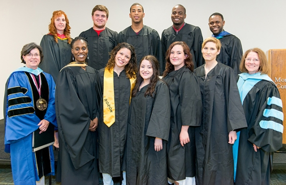 Eight students recently graduated from high school through Montgomery County Community College's Gateway to College program. Pictured are (first row, from left) College President Dr. Karen A. Stout; Gateway Director Keima Sheriff; graduates Ne'Cole Casalena, Erika Knappenberger, Meghan Benson and Rachel Voltz; Vice President of Student Affairs and Enrollment Management Dr. Kathrine Swanson; (second row, from left) Resource Specialist Lori Davidson; graduates Justin Leamy, Carlas Rich and James Hanible; and Resource Specialist Esau Collins. Photo by Sandi Yanisko
