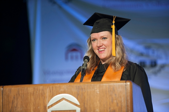 Michelle Sikora addresses the class of 2014 during the College's Commencement on May 15, 2014. Photo by John Welsh