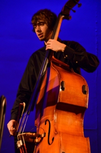 Otto Kuehrmann plays bass with the College's String Ensemble in fall 2013. Photo by Matt Carlin