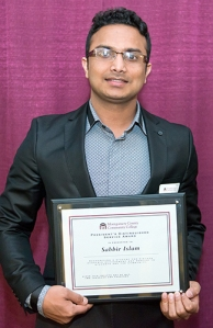 Sabbir Islam earned the 2014 President's Distinguished Service Award prior to Commencement. Photo by Sandi Yanisko